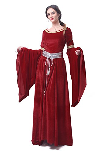 Nuoqi Women's Red Bordeaux Victorian Dress Renaissance Costumes GC209A-M