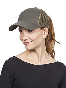 C.C Ponytail Messy Buns Trucker Ponycaps Plain Baseball Visor Cap Dad Hat