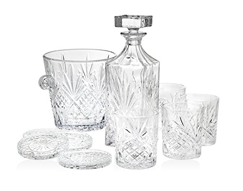 Dublin Whiskey Bar Set – Includes Whiskey Decanter, 4 DOF Tumbler Glasses, 4 Coasters and Ice Bucket
