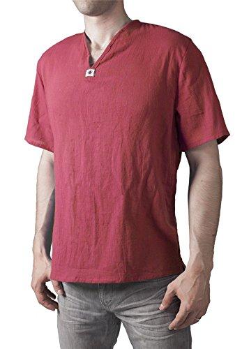 (Lofbaz Men's V-Neck T-Shirt 100% Cotton Thai Hippie Shirt Yoga Top Red 2XL)