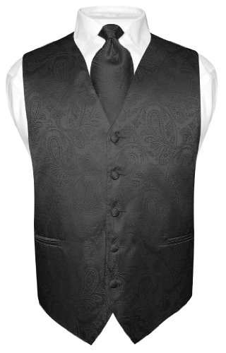 Vesuvio Napoli Men's Paisley Design Dress Vest & NeckTie BLACK Color Neck Tie Set sz L