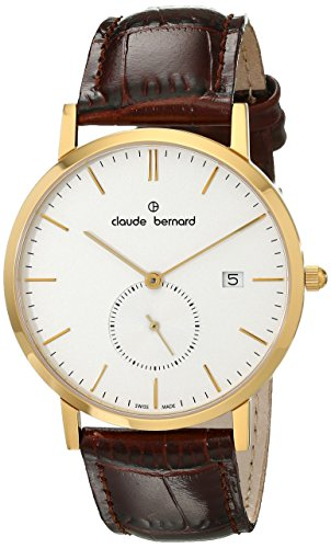 Claude Bernard Men's 65003 37J AID Classic Small Second Analog Display Swiss Quartz Brown Watch