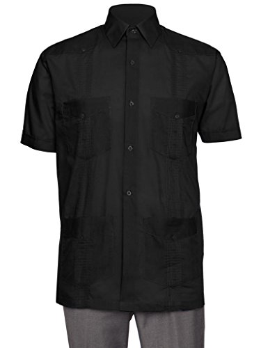 Gentlemens Collection Short Sleeve Guayabera Shirt - for Men Cuban Black X-Large ()