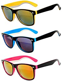 Retro Vintage Two -Tone Sunglasses Mirror Lens Yellow,...