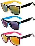 Retro Vintage Two -Tone Sunglasses Mirror Lens 3 Pairs -Yellow, Blue, Pink OWL.