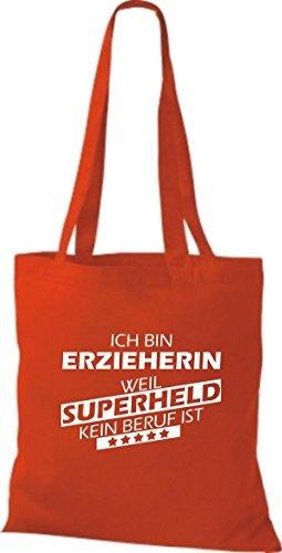 Shirtstown Bolso de tela Estoy Educador de, weil Superheld sin Trabajo ist Rojo