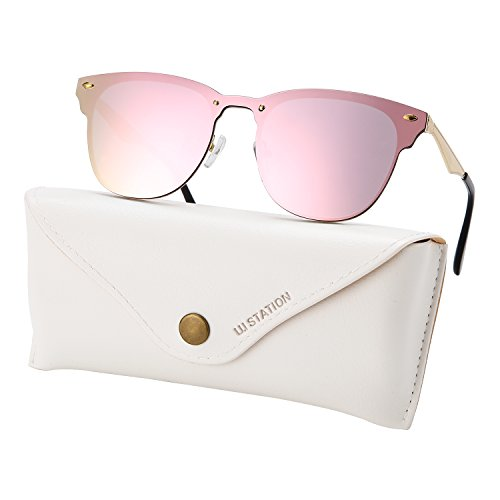 U.I station Wayfarer Mirrored Flat Lens Sunglasses Metal Frame 3576 - Sunglasses For Women I