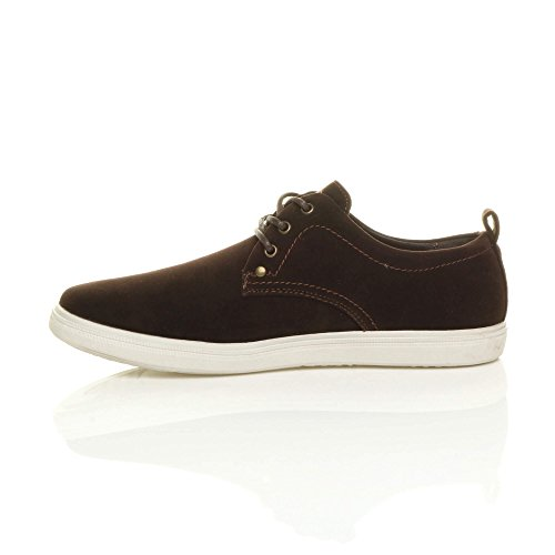 Shoes Ajvani Plimsoles Pumps Trainers Desert Mens Boat Leather Brown Size Flat up Insole Lace Casual FPwRqFr