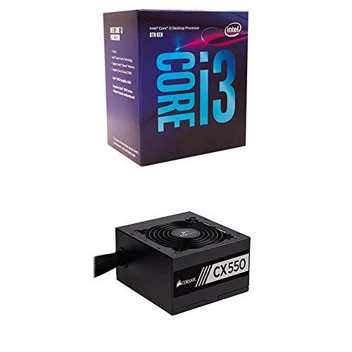 Intel 8th Gen Core i3-8100 Processor and Corsair CX Series 550 Watt 80 Plus Bronze Certified Non-Modular Power Supply (CP-9020121-NA)
