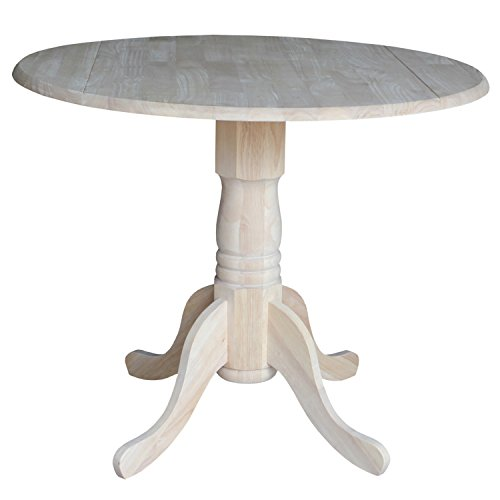International Concepts T-36DP 36-Inch Dual Drop Leaf Table, Unfinished (Round Leaf Table Drop)