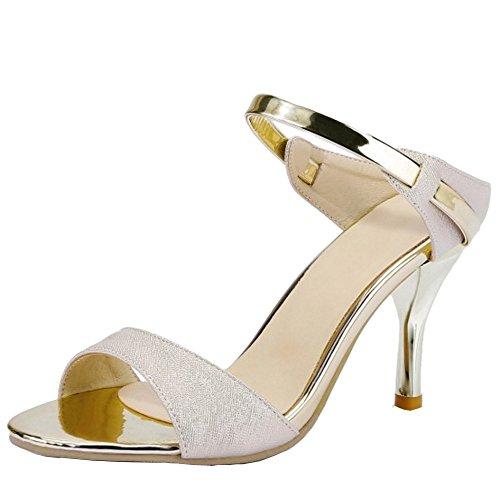 COOLCEPT Mujer Moda Tacon alto delgado Sandalias Slingback Zapatos Oro