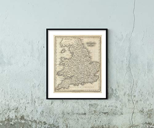 1828 Malte-Brun of England and Wales Map|Historic Antique Vintage Reprint|Size: 20x24|Ready to Frame