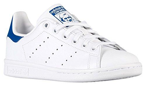 Blue Equipment - adidas Originals Big Kids Stan Smith Shoes Color White/White/Equipment Blue Size 6.5