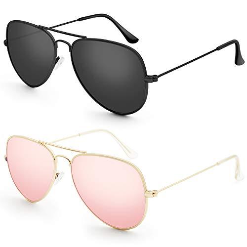 Livhò Aviator Sunglasses Polarized for Men Women Metal Frame UV 400 Protection Outdoor (Black Grey+Sakura powder .)