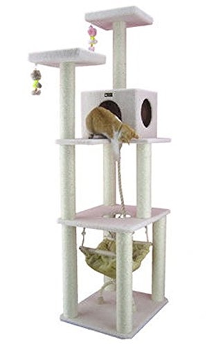 Cat Tree Hammock in Ivory Cat Tower with Sisal Scratching Posts & Kitty Beds