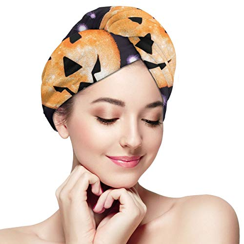 MICHAEL PATEL Halloween Night Moon and Stars Hair Towel Wrap Turban Microfiber Drying Bath Shower Head Towel with Buttons Super Absorbent Fast Drying Bath Cap Dry Hair Hat]()