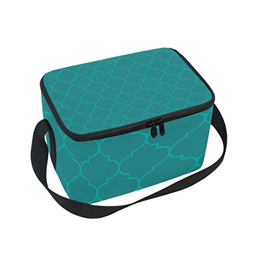 - Dragon Sword Moroccan Aqua Olive Color Insulated Lunch Bag Lunch Box Cooler Tote Bag for Men Women Kids