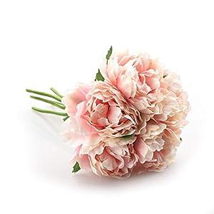 Fun-House Artificial Flower Hydrangea Peony Bridal Bouquet Silk Flower,6 16