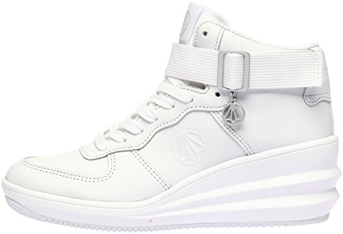Paperplanes-1334 Women Fashion Tall Up Ankle Strap High Top Sneakers Shoes White