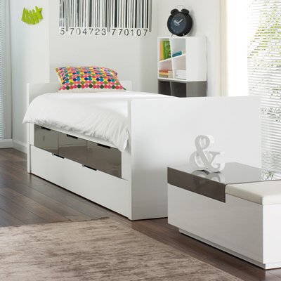 Buddy Bed With Storage Drawers And Pull Out Bed Stone And White