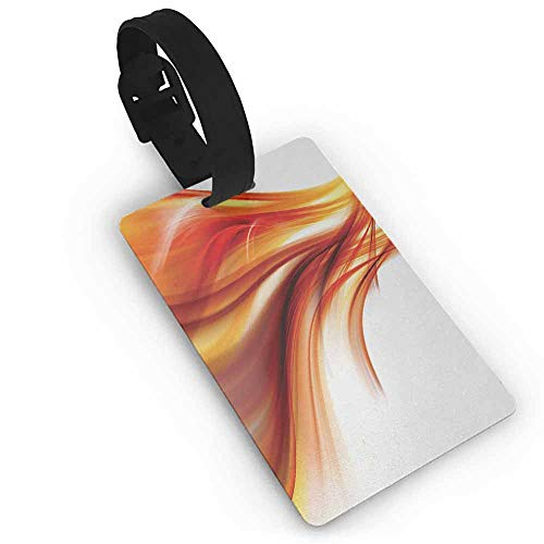 Baggage Tag Abstract,Modern Contemporary Abstract Smooth Lines Blurred Smock Art Flowing Rays Print,Orange Red Label Tag Address Holder