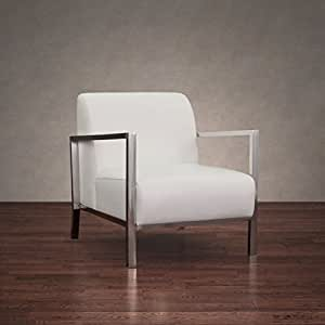 Amazon Com Modern Off White Leather Upholstered Accent