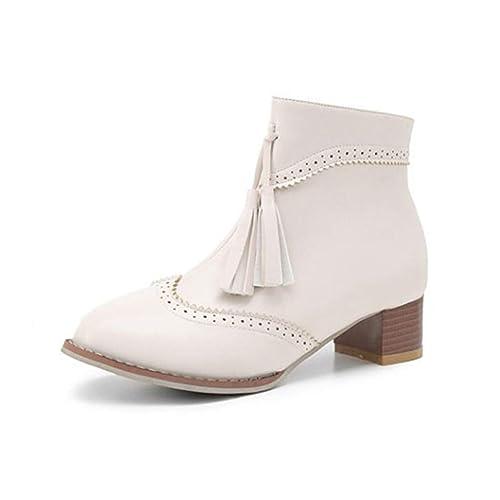 Botas para Mujer Zapatos Vintage de tacón Alto Cuadrados Botines cómodos: Amazon.es: Zapatos y complementos