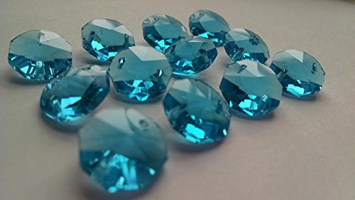 14mm Chandelier Crystals Turquoise Aquamarine Octagon Beads Pack of 50 Aquamarine Crystal Chandelier
