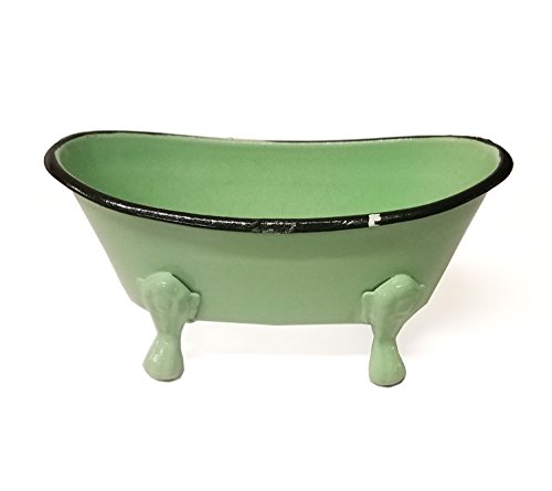 WeeZ Industries Clawfoot Tub Shaped Metal Soap Dish (Green) (Dishes Green Antique)