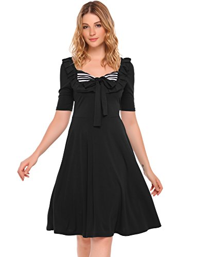 ACEVOG Damen Retro Vintage Sommerkleid Kurzarm Knielang mit Rüschenkante  und Schleife am Ausschnitt Schwarz UJ0l6q86 6d9ca7f7ee