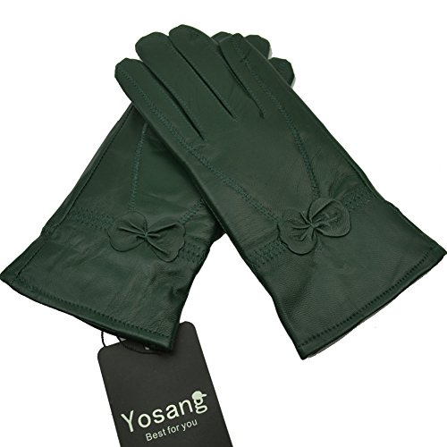 Yosang Women Luxury Winter Genuine Leather Lined Gloves w/ Bowknot Dark Green Large by Yosang (Image #2)