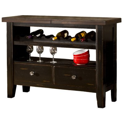 Hillsdale Furniture 5381-853 Killarney 50″-66″ Extendable Counter Height Server with Pull Out Drawer Open-Air Cabinets and Wine Bottle Holders in Black and Antique Brown