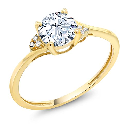 Yellow Diamond Accent - 10K Yellow Gold Diamond Accent Engagement Ring with 6mm 1.25 Ct Round Hearts & Arrows White Created Sapphire