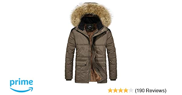 12eed09b334 JYG Men's Winter Thicken Coat Quilted Puffer Jacket with Removable Hood,  Brown, Large at Amazon Men's Clothing store: