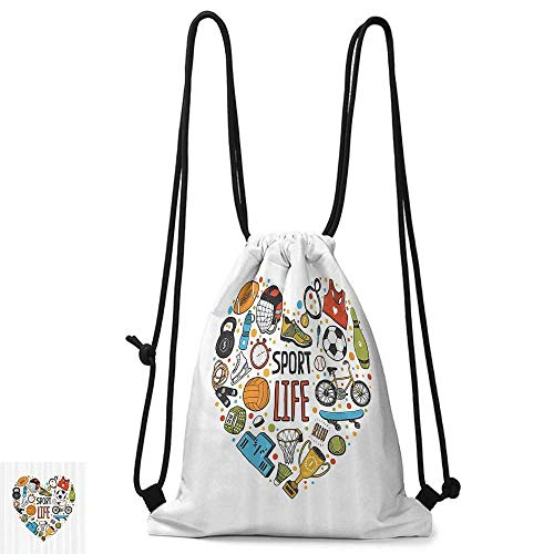 Squad Backpack Icon - Swimming backpack Sports Decor Heart Figure with Sports Icons Swimming Skating Muscle Good Lifestyle Healthy Living Design W14