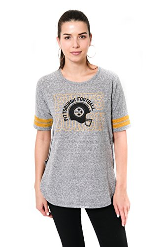 - ICER Brands NFL Pittsburgh Steelers Women's T-Shirt Vintage Stripe Soft Modal Tee Shirt, Medium, Gray