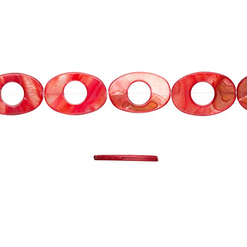 - Shell Bead, Coral Red(Dyed) Mother-of-Pearl, Oval Plate With Circle Cut Out, 30x20mm 16 Inch/pack (2-pack Value Bundle), SAVE $1