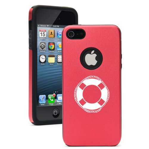 Apple iPhone 5 5S Rose Red 5D6245 Aluminum & Silicone Case Cover LifeBuoy Life Guard Boating