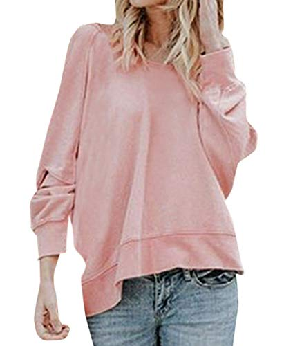 Col Shirts Tops Sweat T Blouse Nu Pullover Rond Manches Tee Fashion Irregulier Casual Longues Pulls Dos Femmes Printemps Hauts Automne Legendaryman Shirts Jumpers Rose A1qOZxH