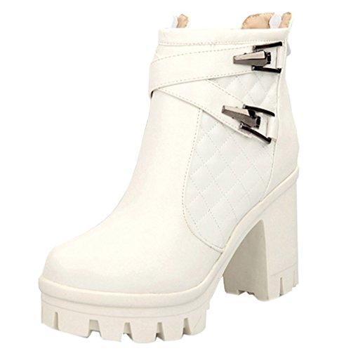 Block High Toe Gürtelschnalle Heel ENMAYER Platform Stiefeletten Zip Weiß Round Partykleid Frauen Gürtelschnalle nX0X8w