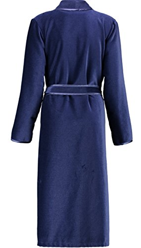 Cawö Damen Bademantel Saunamantel edle Leichtvelours Qualität blau Gr. 48