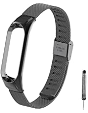 Xiaomi Mi Band 3 Strap, Miband 3 Band 16-22CM,Double Elastic Buckle Stainless Steel Metal Wrist Strap Wristband Watchband Bracelet for Mi Band 3(No Tracker)