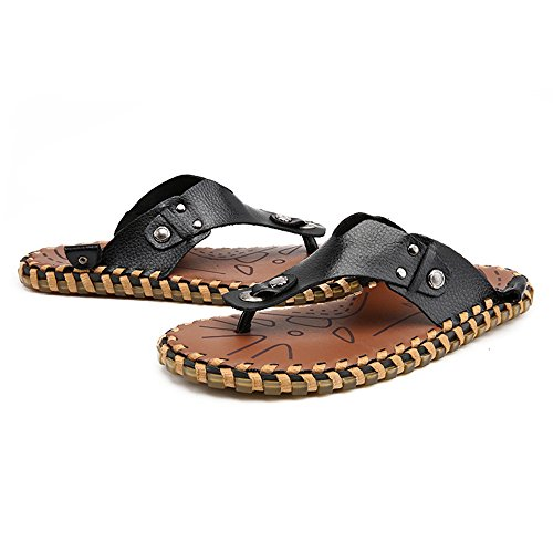 pelle shoes vera Scarpe 2018 spiaggia Infradito in Color Infradito 44 Dimensione piatti Nero EU Casual uomo Mens sandali Nero da da Pantofole morbidi antiscivolo zzw5Y8q