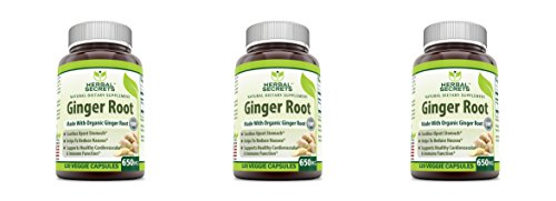 Herbal Secrets Ginger Root 650 Mg 120 Veggie Capsules - made with organic ginger root soothes upset stomach, helps to reduce nausea, supports health cardiovascular & immune function* (Pack of 3) by Herbal Secrets