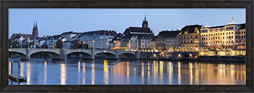 Bridge across a river with a cathedral, Mittlere Rheinbrucke, St. Martin's Church, River Rhine, Basel, Switzerland by Panoramic Images Framed Art Print Wall Picture, Espresso Brown Frame, 38 x 14 inch (River Rhine Framed)