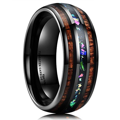 King Will Nature 8mm Tungsten Carbide Wedding Ring Inlaid with Real Wood & Colorful Fragments Engagement Band 10