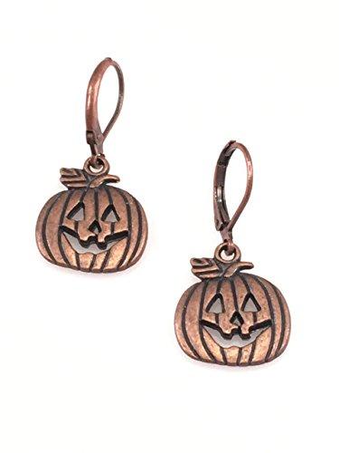 Antiqued Copper Jack-O-Lantern Pumpkin Earrings