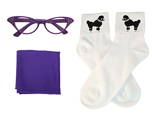 50s Costume Accessory Set Chiffon Scarf, Cat Eye Glasses and Bobby Socks for Women, (Satin Poodle Dress Adult Costumes)