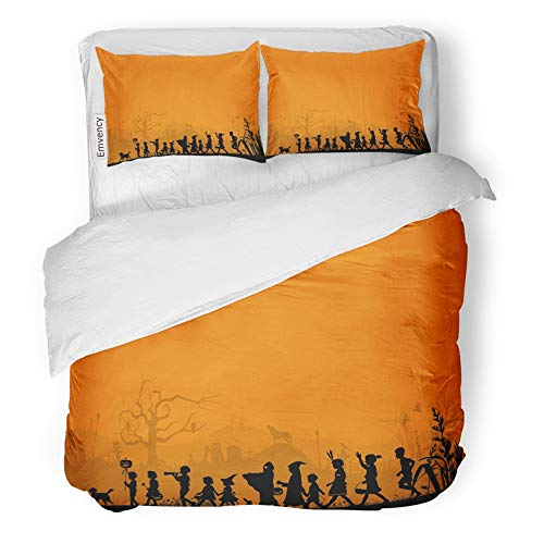 Emvency 3 Piece Duvet Cover Set Brushed Microfiber Fabric Breathable Orange Treat Silhouette of Children Playing on Halloween Night Trick Bedding Set with 2 Pillow Covers Twin Size