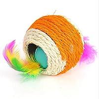 Sisal-Ballkatzenspielzeugdoppelte Lochfederfarbe gelegentlich